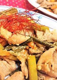 食欲↑【豚肉とにんにくの芽のピリ辛炒め】