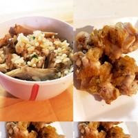 2品同時!鶏肉と舞茸の炊込みご飯と蒸し鶏