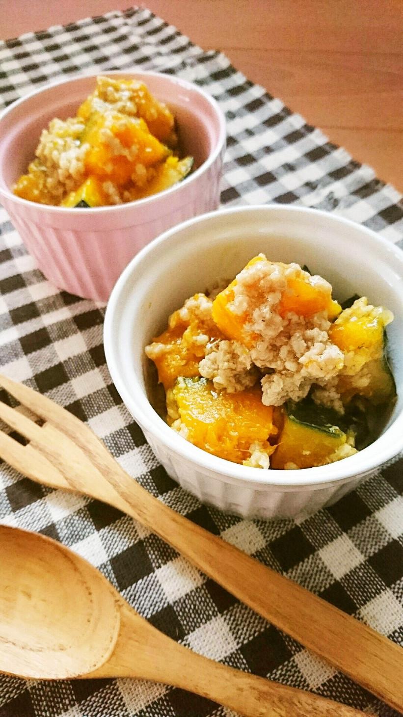 レンジで簡単☆かぼちゃの塩そぼろ煮。