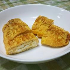 丸いフライパンで簡単!チーズ入り卵焼き♪