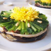 菊の花ソースの揚げ茄子
