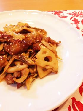 ご飯がススム♡豚肉と蓮根と舞茸の甘酢炒め