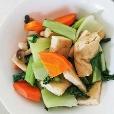 油揚げと残り野菜の簡単レンジ蒸し