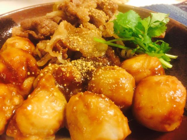 里芋と牛肉の簡単煮物♬