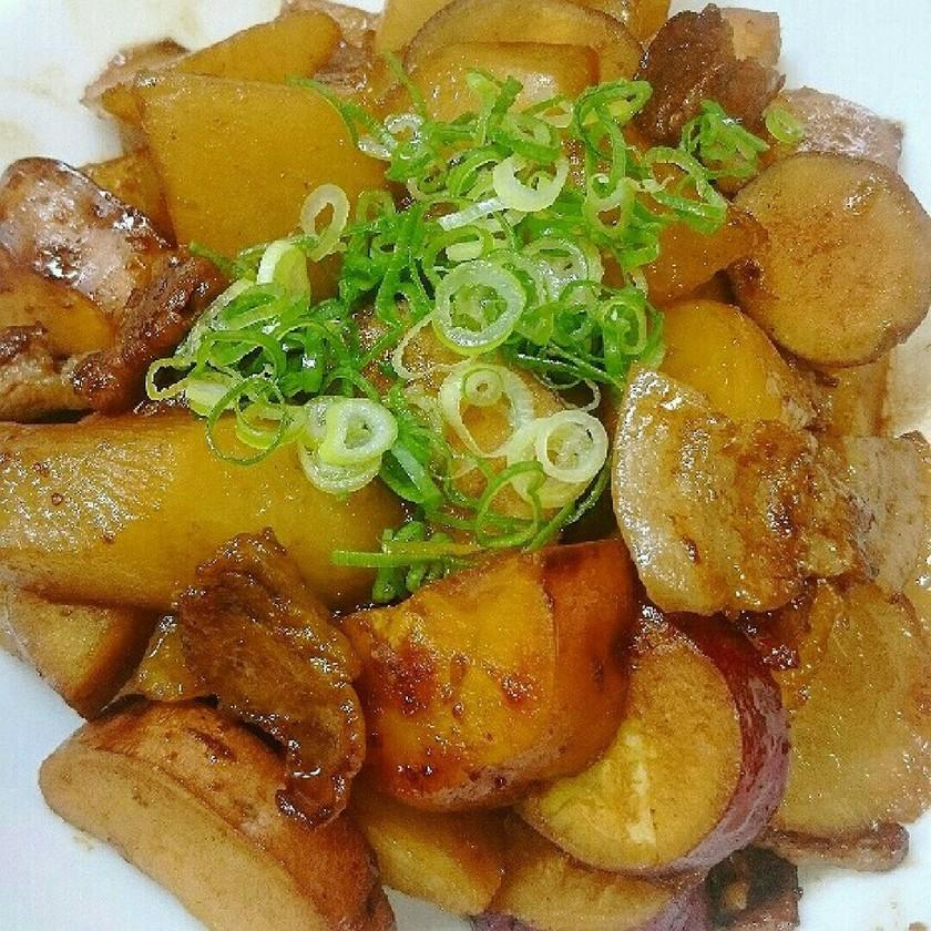 豚と薩摩芋と大根で簡単ウマい大皿おかず!