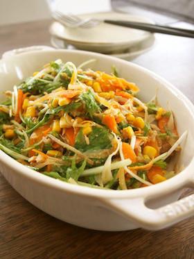 水菜とごぼうのデリ風サラダ
