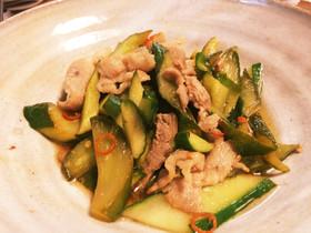 ご飯のと豚肉のピリ辛炒め