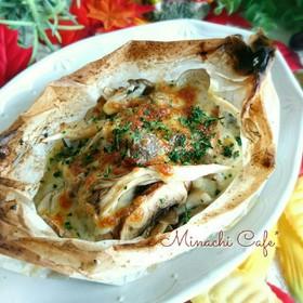 秋鮭と茸のチーズ焼き