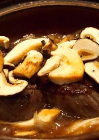 丹波の松茸と飛騨牛のコラボ すき焼き風