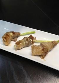 葉生姜の豚肉巻き☆三種のソース