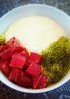 海ブドウと漬けマグロの山かけ三色丼☆