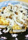 焼き豆腐と焼き麩のきのこ餡かけ