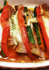 かぼちゃ豚肉トマトの重ね焼き