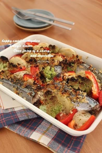 簡単♡秋刀魚と彩り野菜のオーブン焼き*