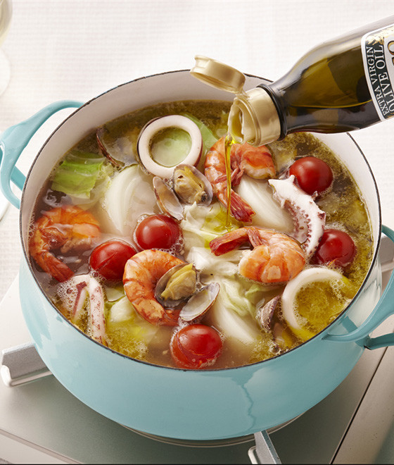 魚介のアヒージョスープ鍋