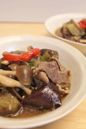 豚肉+醤油麹で茄子ピーマンしめじの煮物