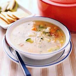 手軽にサッと腸活大麦とじゃがいものスープ