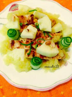 鶏胸肉ソテーのリンゴソースサラダ♡