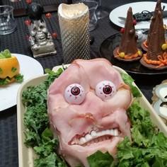 ハロウィンのマッシュポテトのハム顔