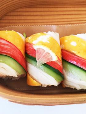 カニカマで手綱寿司♪ストライプ寿司?