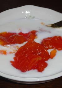 熟し柿のヨーグルト