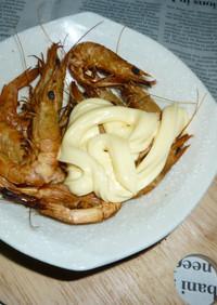 燻製ゆで海老のマヨネーズ味のタパス