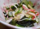 胡瓜とわかめとかにかまの生姜入り酢の物