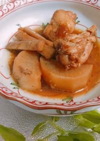 漬け汁の再利用鶏ウィングごぼう大根の煮物
