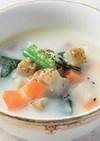 根菜とベーコンの豆乳スープ