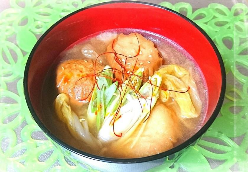 温活☆仙台麩(油麩)&白菜の旨辛味噌汁♪
