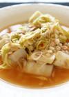 ツナと白菜のピリ辛麦雑炊