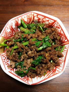 パクチーと挽き肉の炒め物