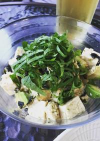 アボガドと豆腐の海苔わさび醤油和え