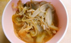 ランチ♪もやしゴボウのコンソメ味噌スープ