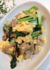 裏ワザ汁っぽくないタアサイと豚肉の卵炒め