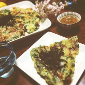 簡単☆小松菜とじゃが芋のもっちりチヂミ