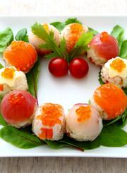 クリスマス☆リースの手まり寿司の写真