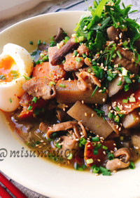 圧力鍋で☆豚白モツの味噌煮