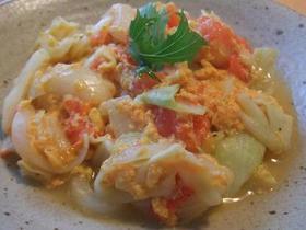 トマトと卵と野菜の炒め物