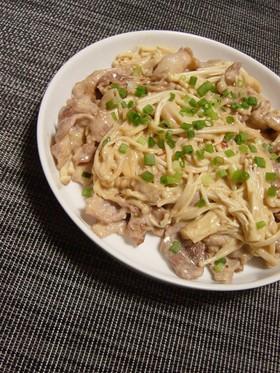 えのき茸と豚肉、中華風マヨネーズ炒め。