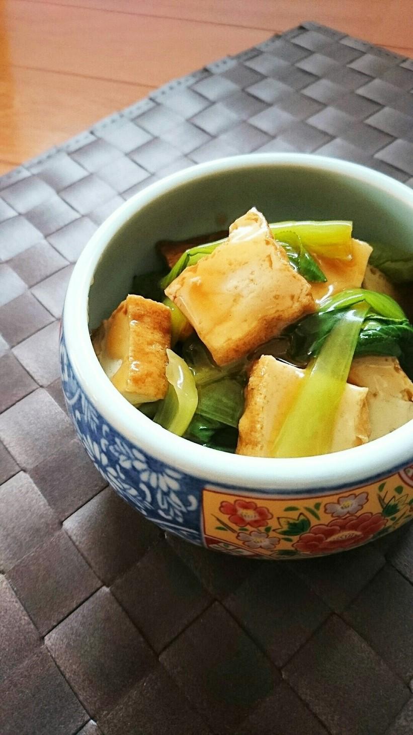 レンジで簡単☆厚揚げと青梗菜の中華煮。