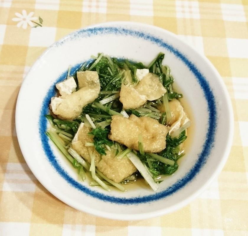 レンジとめんつゆで♪水菜と油揚げの煮浸し