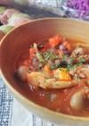 甘酒味噌肉そぼろと小豆のトマトスープ