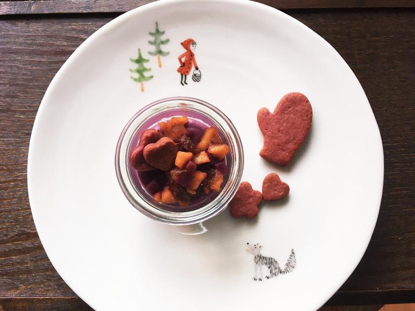 紫芋の葛プリン  りんごのカラメリゼのせ