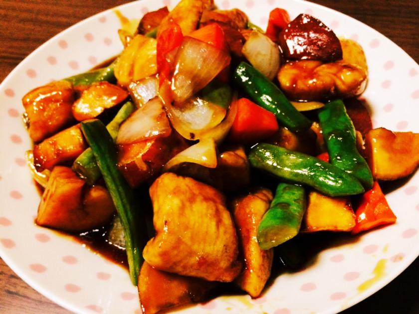 揚げない*鶏と野菜の黒酢あん