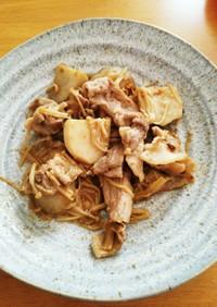里芋と豚肉にんにくバター炒め