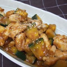 鶏むね肉とかぼちゃの味噌炒め煮