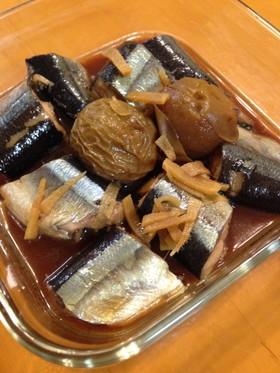 梅酒の梅で秋刀魚の煮付け