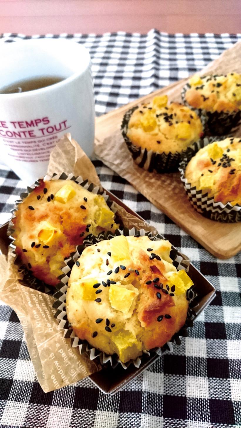 ホケミで簡単☆卵不使用さつま芋マフィン。