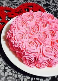 糖質制限◆星口金でピンクのローズケーキ
